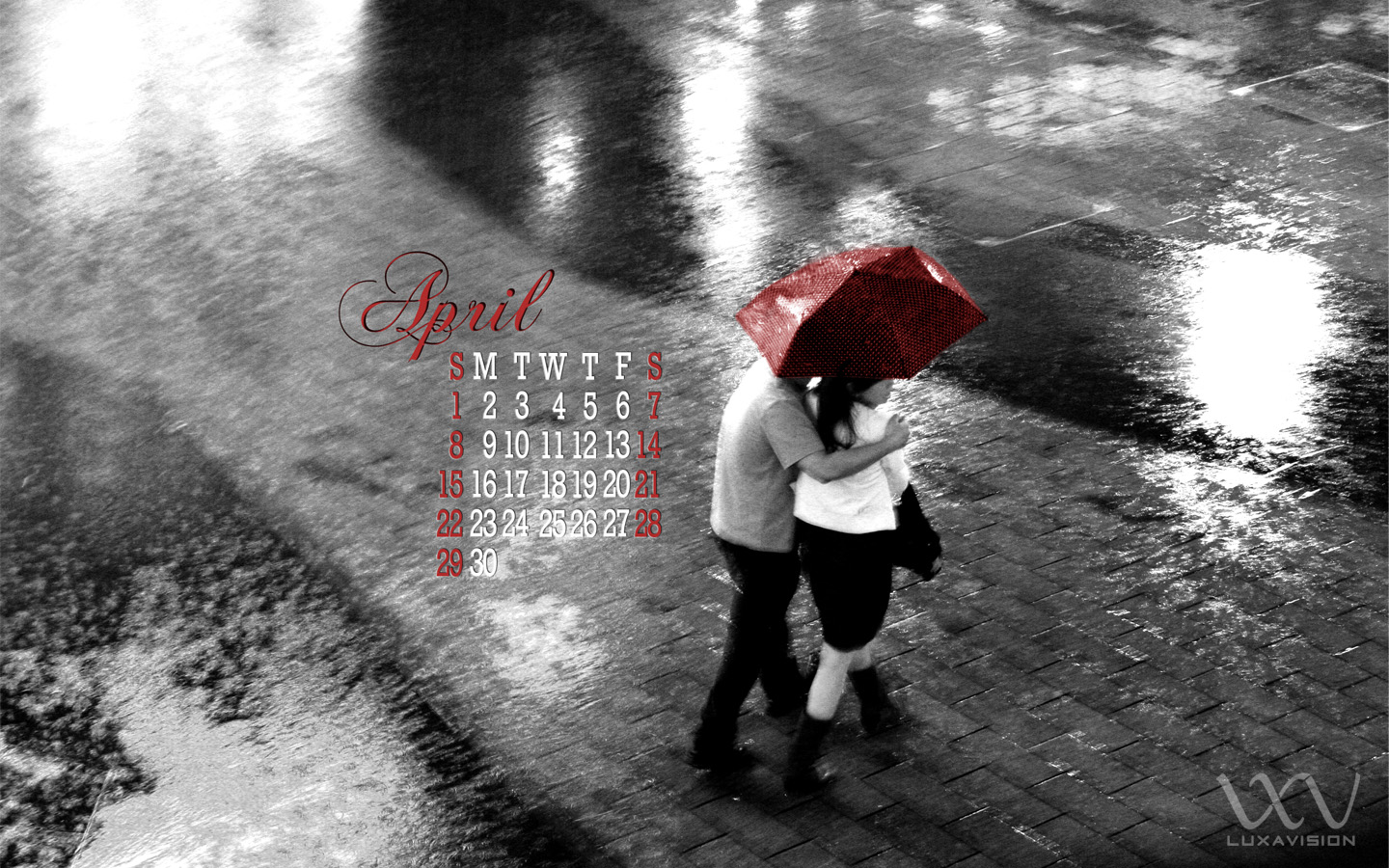 Desktop Calendar for April 2012 - Couple in the Rain with Umbrella 1440x900