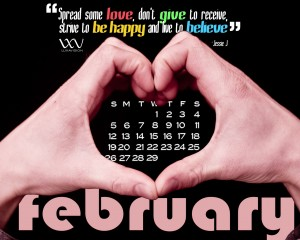 Desktop Calendar for February 2012 - Hands Make Heart Shape 1280x1024