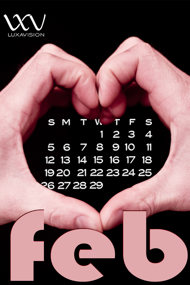 Desktop Calendar for February 2012 - Hands Make Heart Shape iPhone