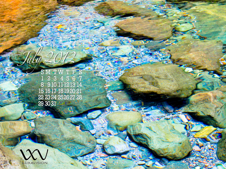 Desktop Calendar for July 2012 - Rocks in Clear Water 1600x1200