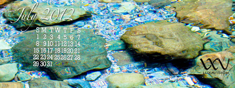 Desktop Calendar for July 2012 - Rocks in Clear Water Facebook Cover
