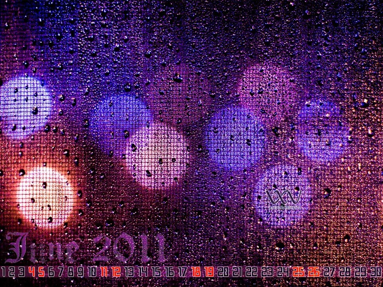 Desktop Calendar for June 2011 | Bokeh Lights Rain Drops 1600x1200