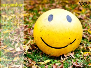 Desktop Calendar for November 2011 - Fallen Leaves & Happy Face Ball 1600x1200