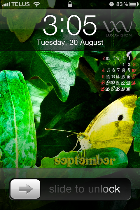 Desktop Calendar for September 2011 - Yellow Butterfly - iPhone Print Screen