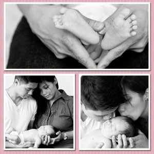 Newborn Baby Audrey with Parents BW