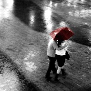Couple in the Rain Black & White - Shanghai