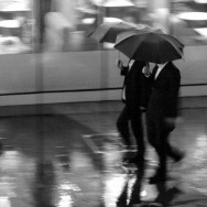 Men in Black with Umbrella in the Rain - Shanghai