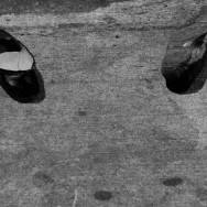 Forgotten Shoes on the Street - Black & White