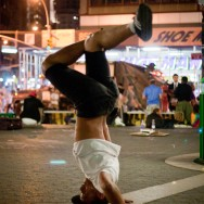 Break Dancer doing a Head Freeze in Union Squre