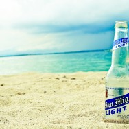 San Mig Light Beer in Sand
