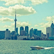 Toronto Skyline with Speed Boat