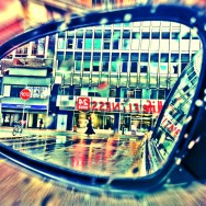 Rear View of GoodLife Fitness Yonge Street on Rainy Day