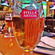 Glass of Stella Artois at Boston Pizza
