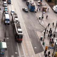 Aerial View of Queen & Bay - TTC Streetcar