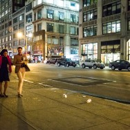 Couple walking in New York