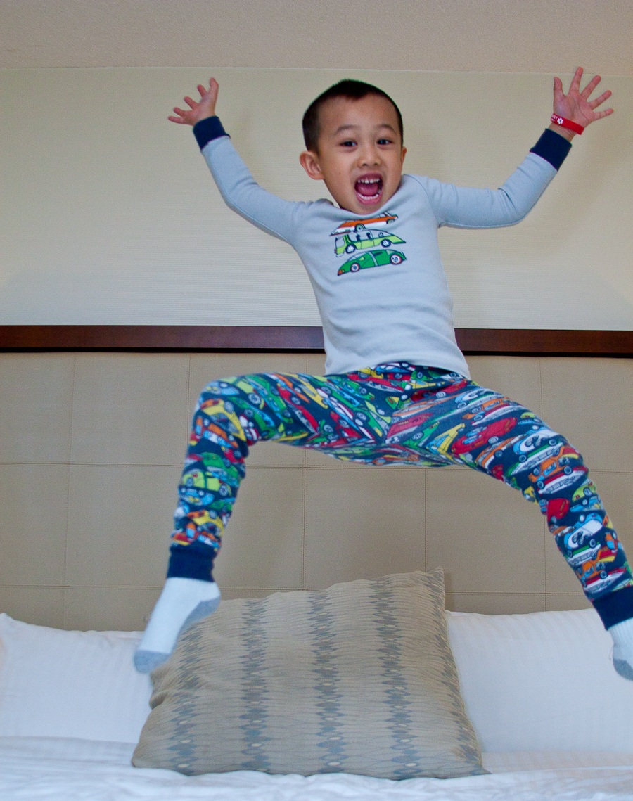 Boy Jumping On Bed With Pajamas Photo A Day Line A Day